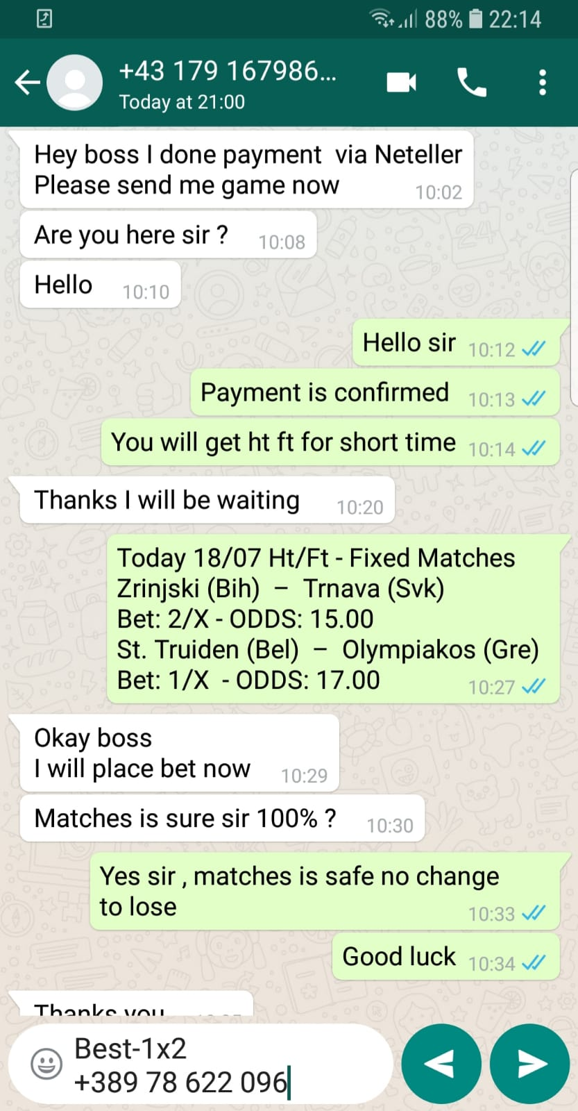 manipulated fixed matches today exchange